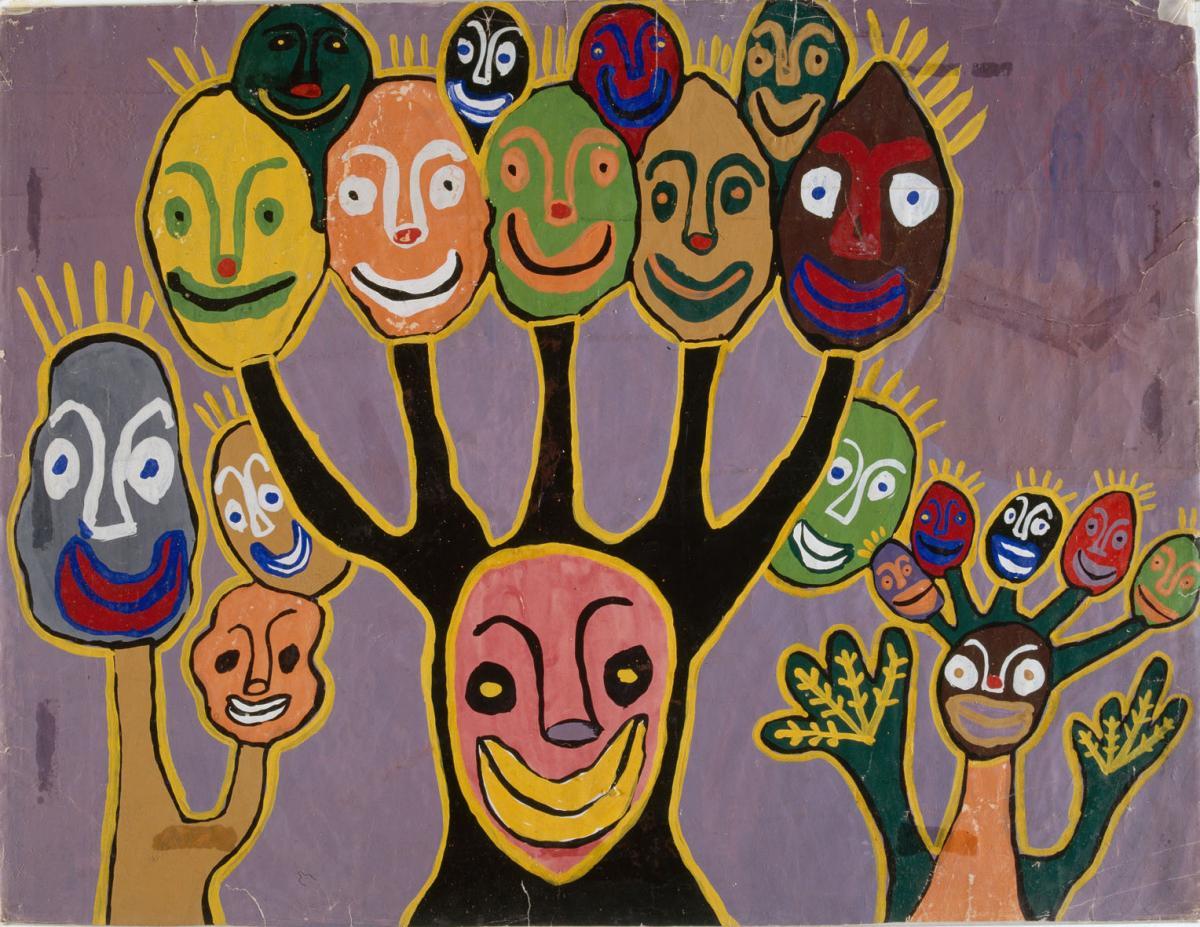 C'est un masque d'un genre particulier avec une personne ayant plusieurs têtes. Le nombre de têtes représente les forces surnaturelles qu'elle possède. Dans ce cas d'espèce, cette personne a une puissance de cinq personnes. Il y en a qui en ont dix. Pour l'affronter, vous devez être au moins une dizaine s'il en vaut cinq. (Bruno Onomo)